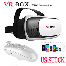 VR Headset Virtual Reality VR BOX Goggles 3D Glasses Google Cardboard Remote US