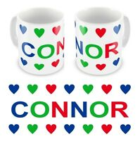 Personalised Printed Children's Kids Boys Hearts Any Name Mug Cup Gift Boxed