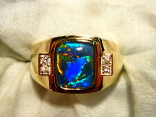 Mens Opal Ring 14ct Yellow Gold Natural Opal Triplet & Diamond 10x8 Rect. 100728