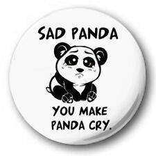"SAD PANDA - 25mm 1"" Button Badge - Cute Novelty CRYING"