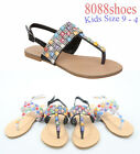 Girl's Kids' Black Silver Multi Color Jeweled T-Strap Flat Sandals Size 9 - 4 br