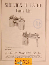 "Sheldon 11"", Lathe Parts Manual Year (1956)"