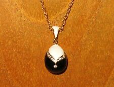 Russian FABERGE inspired BLACK WHITE ENAMEL Swarovsky Crystals EGG pendant chain