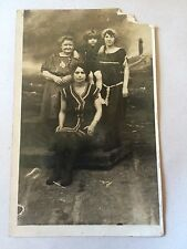Edwardian Era Women Bathing Swimsuits Beach Backdrop Photo RPPC 1910s Antique