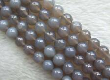 5 Strands 10mm Natural Grey Agate DIY Round Loose Beads Wholesale