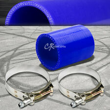 """2.5"""" 3-PLY STRAIGHT TURBO/INTAKE/INTERCOOLER SILICONE COUPLER HOSE+T-CLAMP BLUE"""