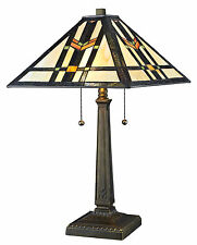 """Tiffany Style Handcrafted Mission Table Lamp 16"""" Shade"""