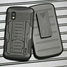 Rugged Armor Hybrid Impact Case Stand Cover Holster For Google LG Nexus 4 E960