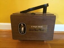 Vintage Esquire Shoe Care Chest Deluxe Wood Box Shoe Valet Brushes Polish