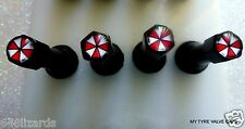 4 Tyre Tire Resident Evil Black 4 A/Theft Car Valve Caps Set Bike Umbrella Corp