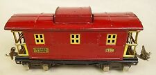"LIONEL PRE-WAR #657 ""LIONEL LINES"" RED CABOOSE WITH BRASS TRIM-GOOD ORIG!"