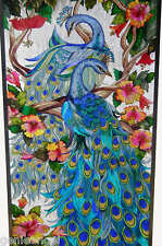 SPECTACULAR *2 ADORING PEACOCKS * HIBISCUS 21x41 PEACOCK ART GLASS WINDOW PANEL