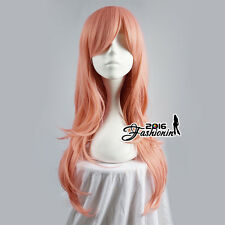 70CM Pink Lolita Wavy Fashion Long Women Cosplay Hair Wig Heat Resistant+Wig Cap