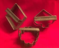 Primitive Antique Biscuit /Cookie Cutter Soldered Tin~Lot Of 3 (Y5)