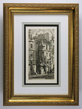 """Detailed Charles MERYON """"The Old French House"""" DURAND 1800s Etching FRAMED COA"""