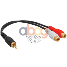 Audio Y Adapter 1 RCA Plug to 2 RCA Jacks Extension Splitter