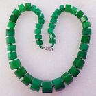 1strand Fashion Faceted Green Jade 8x6mm-16x14mm Necklace 17.5 inch M149