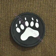 Round Bear Claw Rubber Pvc Velcro Patch Easy Stick On Badge Tactics Badge Black