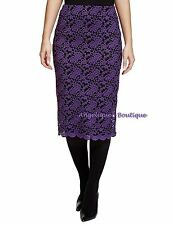 PER UNA PURPLE/BLACK VINTAGE EMBROIDERED FLORAL LACE EVENING SKIRT SIZE 14 NEW