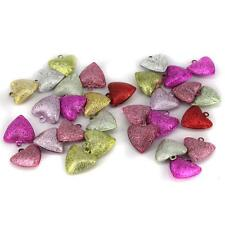 30 STARDUST LOVE HEART JINGLE BELLS FOR PET DOG COLLAR JEWELRY FINDING CRAFT