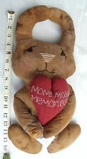 """USA-Made Rustic Cloth Rabbit Doll Holding Heart That Reads """"Moms Make Memories"""""""
