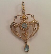 Fine Victorian 9ct Gold Aquamarine & Seed Pearl Set Pendant Brooch