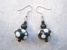 MONOCHROME BLACK & WHITE POLKA DOT LAMPWORK GLASS BEAD Drop Pair of Earrings