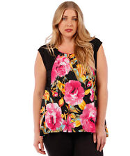 NEW! WOMEN'S PLUS SIZE CLOTHING BLACK & PINK SUMMER FLORAL BLOUSE  4X