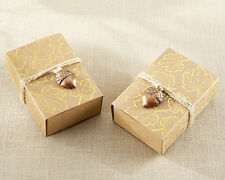 24 Gold Foil Leaf with Acorn Charm Autumn Fall Bridal Shower Wedding Favor Boxes