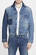 $148 Levi's Denim Jean Jacket - Patchwork Blue Design NEW Men's SM FREE SHIP