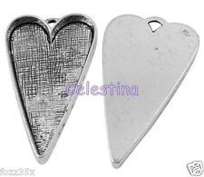 2 Antique Silver Heart Cabochon Charms - Elongated Love Heart Bezels 53mm  NF