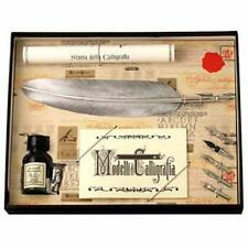 Calligraphy Set, Silver Feather Quill & 5 Nib Set, Great Gift (7260SL)