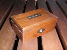 ANTIQUE WOOD WOODEN HAND DECORATED MONEY BOX