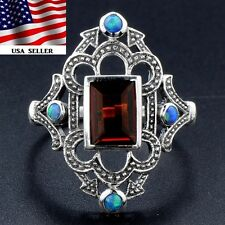 2CT Smoky Topaz & Blue Fire Opal 925 Solid Sterling Silver Filigree Ring Sz 7