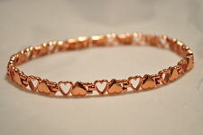 LADIES 10 IN. HEALING MAGNETIC LINK ANKLET: Flip-Flop Copper Hearts; 4 Pain!