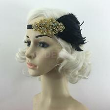 Bridal 1920s Great Gatsby Flapper Downton Abbey Head Crown Feather Hair Band