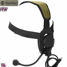 AIRSOFT TOMTAC BOWMAN EVO III 3 HEADSET BOOM MIC BLACK SWAT HELMET RADIO UK Z