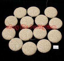 """25mm Flat Coin Lumpy Lava Rock Gemstone For DIY Jewelry Making Spacer Beads 15"""""""