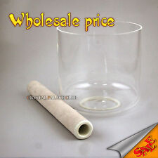 """clear pure crystal singing bowl 7"""" perfect B or A or A# 3th octave deep tones"""