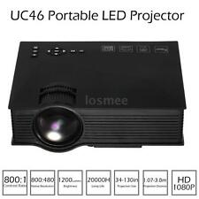 UC46 Mini Portable Projector 1080P Home Theater 1200 Lumens WIFI HDMI AV USB SD