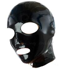 Black Latex Bondage Hood Zipper Back Natural Rubber 'H05'