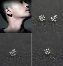 1Pair Jewelry Girl Silver Nautical Anchor Rudder Mismatched Small Stud Earrings