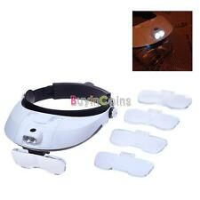 DIY Headband Head Lamp Light Jeweler Magnifier Magnifying Glass Loupe #02 Hat