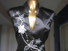 Oriental CHINESE Black Silver Long STYLISH dress 10