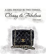 Chanel bag Print, Chanel Quotes , Watercolor artwork. Fashion Illustration. Mode
