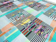 ☻ Stoff Designer Jersey Digitaldruck Abstrakt Model Streifen bunt bedruckt ☻