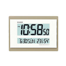 Casio Digital Lcd Calendar Temperature Office Home Indoor Wall Clock, Gold