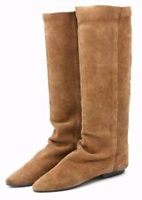 Vintage Suede Knee High Womens Boots 6.5 Genuine Leather Hipster Boho Portugal