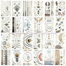 US SELLER- 10 sheets wholesale temporary metallic flash tattoo Neck Arm