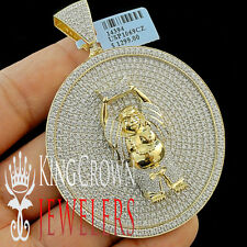 10K Yellow Gold On Silver Lab Diamond Buddha Pendant Custom XL Medallion Big 3''